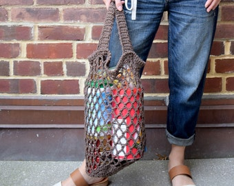 Eco-Friendly reusable brown grocery shopping BUCKET bag with two handles - handmade cotton shopping tote - earth friendly market bag