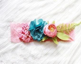 Wedding Garter Bridal Garter Lace Garter Flower Garter - Floral Garter Rustic Garter Pine Green Teal Pink Garter Bohemian Woodland Wedding