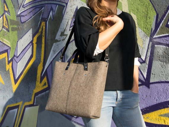 Wool felt HANDBAG / felt tote bag / felt women's bag / grey bag / felt bag / made in Italy