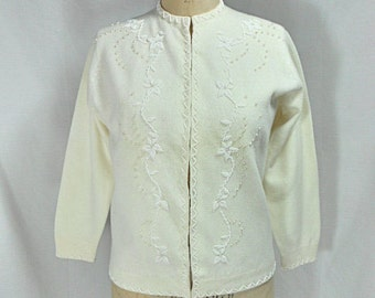 vintage 1960s beaded cardigan sweater / Imperial / ivory cream / floral / women's vintage sweater / tag size 38