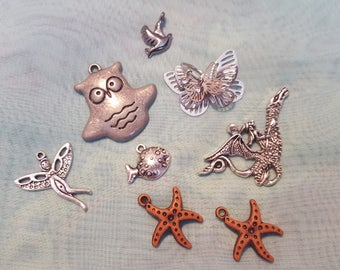 Animal Mix: Pendants, Charms, Owl, Dragon, Starfish, Butterfly, Fairy, Fish, Dove, Bird, Silver