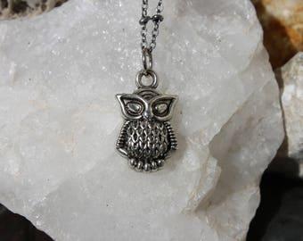 Reiki Attuned Antique Silver Power Animal Totem Owl Pendant Necklace
