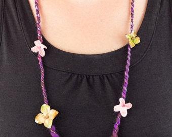 Hippie Layering Necklace, Boho Flower Necklace, Stacking Necklace, Art Yarn Necklace, Hippie Fiber Necklace, Fabric Textile Necklace