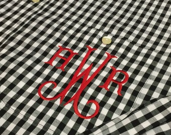 Monogram Buffalo Plaid Boyfriend Shirt - Monogram Oversize Button Up Shirt - Gingham Check Shirt - Personalize Oxford - Bridal Party - Bride