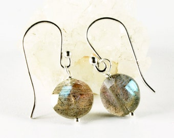 Labradorite Earrings, Sterling Silver, petite dangle earrings, grey-green gemstone, holiday gift for her, delicate, minimalist,alira jewelry