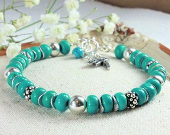 Turquoise Bracelet, 925 Sterling Silver, Genuine Natural Turquoise Jewelry, modern bohemian bracelet, stackable blue gemstone bracelet, 4128