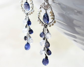 Iolite Earrings with Moonstone and white Pearls, .925 Sterling Silver wire wrap, violet blue gemstone, long cluster earrings, gift ideas