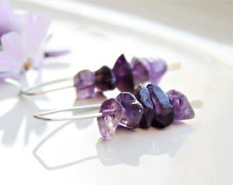 Natural Amethyst Earrings, Sterling Silver, rich purple gemstone threader earrings, hand-forged artisan earrings, holiday gift for her