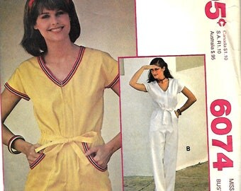 1970's McCall's 6074 Make It Tonight Misses Jumpsuit Sewing Pattern, Size 12, UNCUT