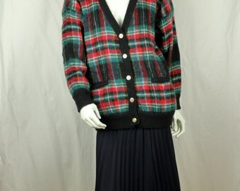 Womens vintage mohair plaid cardigan Christmas red green black plaid sweater Oversized plus size acrylic wool sweater 90s Grunge clothing L