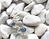 Sterling Silver, Smoky Quartz & Moss Aquamarine Woven Necklace