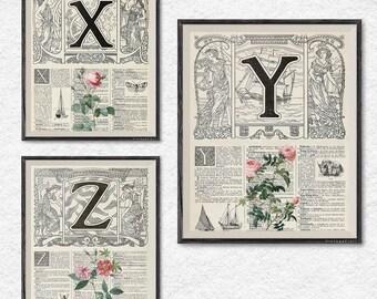 XYZ letters art, print set of 3, rose print, vintage botanical print, floral wall art