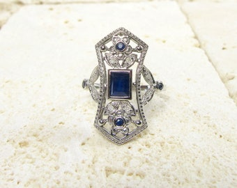 White Gold Filigree Sapphire and Diamond Ring, Blue Sapphire, Blue Sapphire Ring, Filigree Ring, September Birthstone, Birthstone Ring