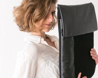 Black laptop sleeve, Black Laptop Case, Vegan Laptop case, Laptop Sleeve, macbook sleeve, black laptop bag, Black briefcase bag, macbook bag