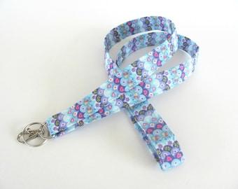 Fabric Lanyard ID Badge Holder, Hearts and Posies Keys Lanyard Easter Gift, Teacher keychain