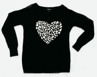 Vintage Express Leopard Heart Sweater - Medium