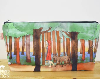 Red Riding Hood Toiletry Wash Bag / Makeup Bag / Pencil Case