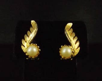 Gold Tone and White Faux Pearl Clip On Earrings