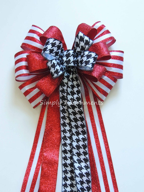 Red Black Christmas Bow Red Black Houndstooth Wreath Bow Black Red Christmas Tree Bow Alabama Football Red Black Houndstooth Door hanger Bow