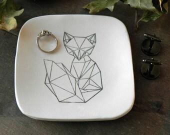 Geometric Fox Trinket Dish,  Ceramic Plate, Black and White Pottery, Square Ring Dish Animal Porcelain Home Decoration, Geometrical Style