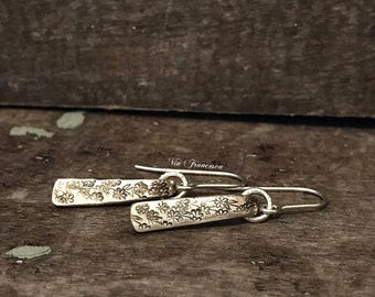 Hand Stamped Fork Tine Earrings - Silver Plated Fork - Sterling Silver Earwires - Silverware Jewelry - Repurposed - Recycled - Made in USA