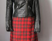 Red Wool Plaid Wrap Skirt...