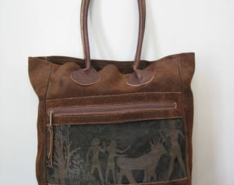 Leather Tote / Vtg 70s / Preston Leather Products Dark Brown Leather Tote w Ancient Egyptian Agricultural panel