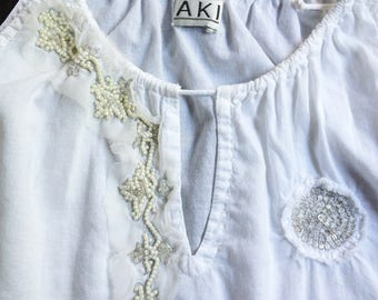 Embellished Drawstring Top White Cotton Lawn