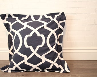 "26x26"" Navy & White Lattice Euro Pillow Sham"