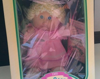 RARE 1985 Coleco Cabbage Patch kids doll Korie Jaclyn with pink Duck Dress 2 Dimples No freckles still  in box OFFERS send message CPK