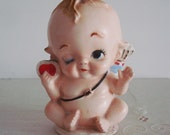Vintage CUPID VALENTINE Head Vase PLANTER: Collectible Ceramic Cherub Baby Figurine for Valentine's Day