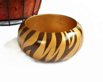 Wood Bangle Bracelet Tiger Stripe Gold Brown Hand Painted Chunky Wide Vintage Boho, Bangle Bracelet