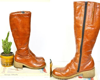 1970s Hush Puppies knee high boots / vintage shearling lined riding boots