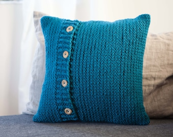 Blue knit pillow - simple knit pattern throw pillow - chunky look pillow hand knit at home based studio 0191