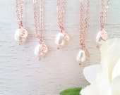 Rose Gold Pearl Necklace, White Pearl Necklace, Custom Jewelry, Personalized Rose Gold Initial Necklace, Wedding Necklace, Bridesmaid Gift