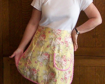 SALE Yellow Rose Patchwork Half Apron - Yellow and Pink Pieced Half Apron - Size Small to Medium