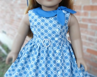 """18"""" Doll Clothes 1950's Style Side Tie Collar Dress Fits American Girl Maryellen"""