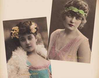 Art Nouveau Actress - 2 New 4x6 Vintage Postcard Image Photo Prints SD205 SD169