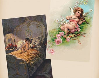 Cupid - Violin - Bed - 2 New 4x6 Vintage Postcard Image Photo Prints - AN34 AN31