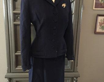 40s Dark Navy Gab Office Dress Suit