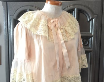 30s 40s  Romantic Pink Nylon and Lace Bed Jacket