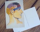 Phrenology Head Postcard - Quirky 4 x 6 Art Card - Unique Stationary - Neurology Psychology Print - Neuroscience Note Card - Bookshelf Curio