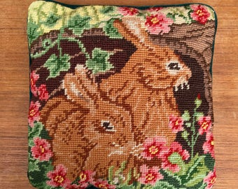 Needlepoint Pillow, Cute Bunnies, Plush Back with Zipper, Great for Easter
