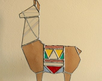 White/brown Llama sculpture