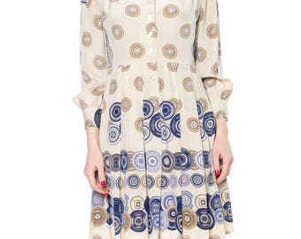 Geometric Printed Silk Dress With Pleated Skirt Size: 4-6