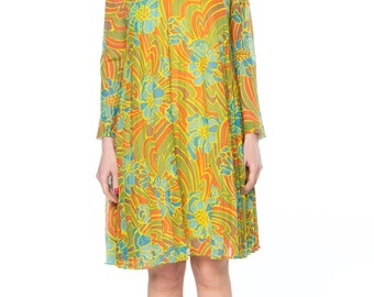 1960s Pleated Psychedelic Floral Dress Size: 2-4