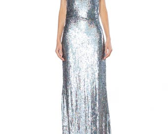 Badgley Mischka Silver Sequin Backless Gown Size: 2-4
