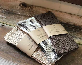 Natural Washcloth, Set of 3, Natural Washcloths, Cotton Washcloths, Washcloths, Crochet Washcloths, Wash Cloth, Cotton, Natural Dishcloth