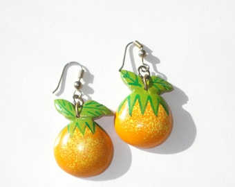 Vintage Handpainted Orange Earrings - Pierced Retro Fruit Fashion Jewelry - 1980s
