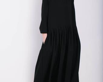 Loose Dress - Black Oversize Dress  - Oversize Dress - Loose Fit Dress - Handmade by OFFON